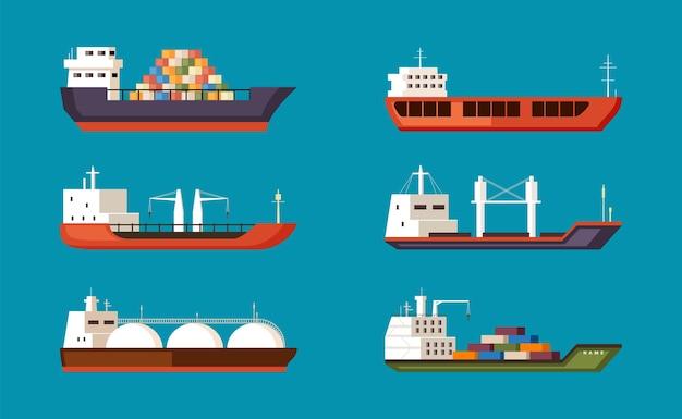 貨物船セット。工業用容量の大型輸送水運搬船