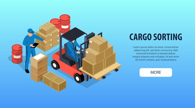 Cargo sorting with workers loading boxes on forklift isometric illustration