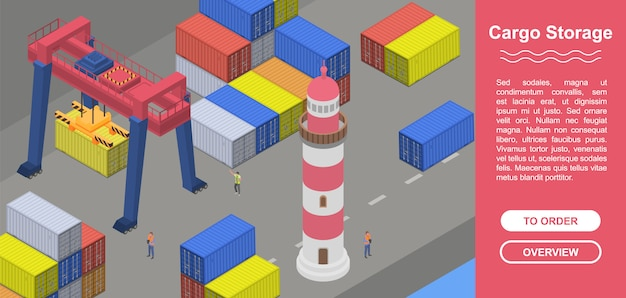 Cargo storage concept banner, isometric style