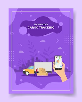 Cargo tracking men front box package truck van for template of flyer