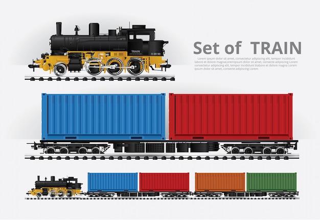 Грузовой поезд на железнодорожной дороге векторная иллюстрация