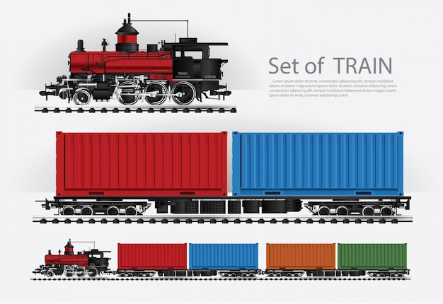 Cargo train on a rail road illustration