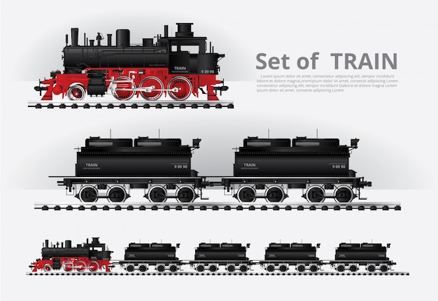 Cargo train on a rail road template