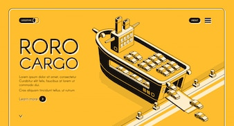Cargo transport company isometric web banner, site design template with cars loading