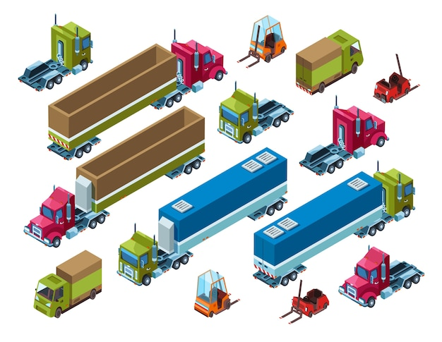Cargo transport illustration of isometric logistics delivery trailer