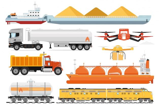 貨物輸送。産業輸送輸送車両。孤立した貨物船、タンカートラック、鉄道車両、ドローン航空機、鉄道輸送アイコンコレクション。貨物配送サービス