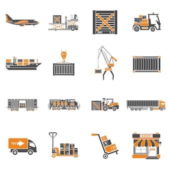 화물 운송, 포장, 운송 및 물류 두 가지 색상 아이콘 세트(예: 트럭, 항공 화물, 기차, 운송). 고립 된 벡터 일러스트 레이 션