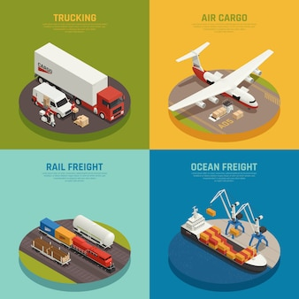 Cargo transportation including ocean and rail freight air delivery trucking isometric