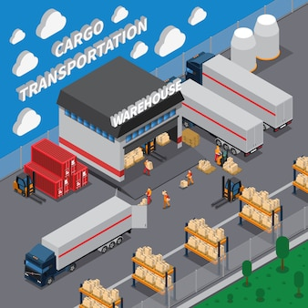 Cargo transportation isometric composition