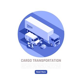 Illustrazione isometrica del trasporto di merci con camion e trasporto urbano destinato alla consegna di vari carichi