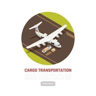 Грузовые перевозки изометрической круглой иллюстрации с самолетом на взлетно-посадочной полосе аэродрома и грузовыми ящиками