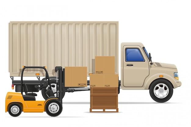 Грузовой автомобиль доставки и перевозки грузов концепции векторные иллюстрации