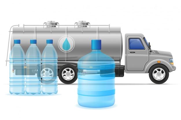 貨物トラック配送と精製飲料水の概念ベクトル図の輸送