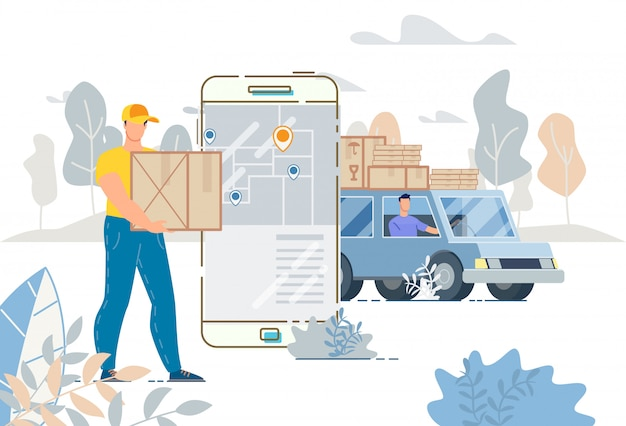 Cargo truck delivery service tracking system app illustration