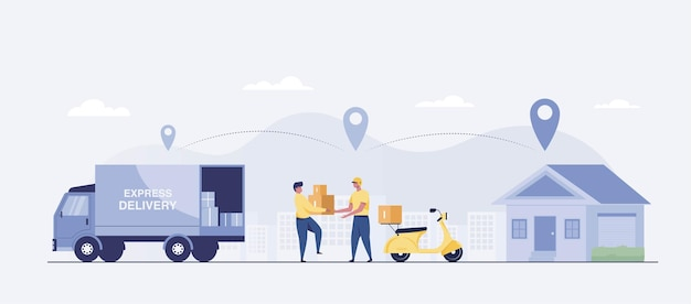 The cargo truck forwarder delivers the goods to the scooter driver to the destination is the customer. vector illustration