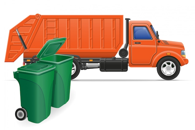 Cargo truck garbage removal concept vector illustration