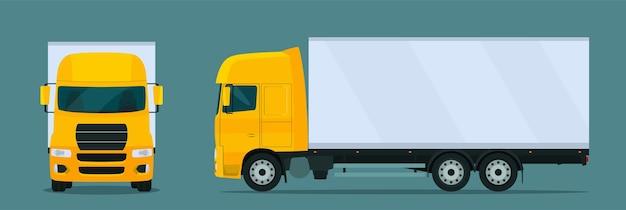 分離された貨物トラック。側面図と正面図の貨物トラック。