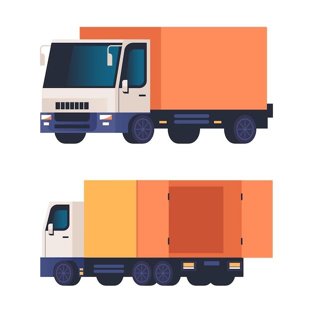 Cargo truck isolated on white background set.
