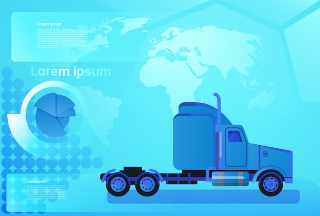 Cargo truck trailer vehicle over world map worldwide shipping and delivery concept