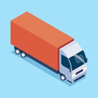 Грузовые перевозки грузовыми автомобилями в изометрической проекции. векторные иллюстрации