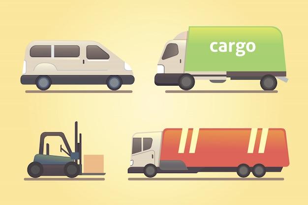 Cargo truck transportation vector set