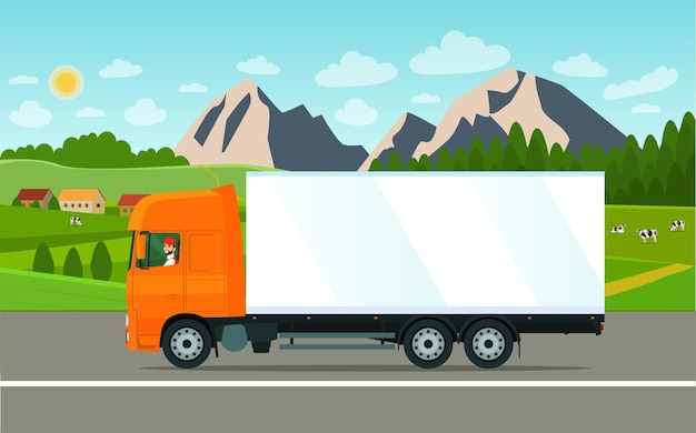 Cargo truck with a driver on a landscape background. vector illustration.