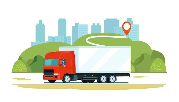 田園風景を背景に道路上のドライバーと貨物トラック。 Premiumベクター