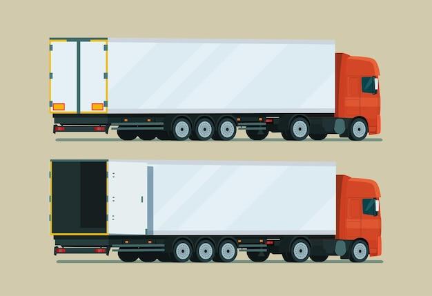 트레일러 2 각 세트가있는화물 트럭