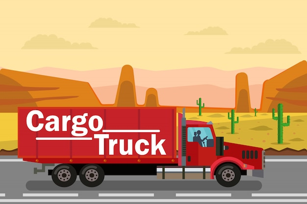 Cargo trucking, delivery flat color illustration