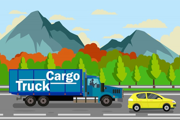 Cargo trucking, delivery vector color illustration