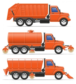 Cargo trucks municipal cleaning services vector illustration