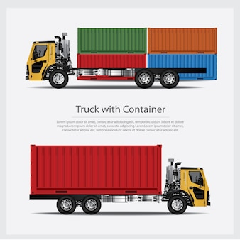 Cargo trucks transportation with container isolated illustration