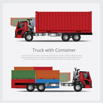 Cargo trucks transportation with container