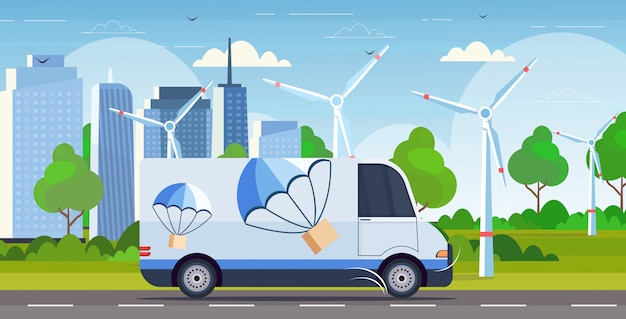 Cargo van truck driving road parcel box with parachute flying down from sky express delivery service concept modern wind turbines cityscape background horizontal