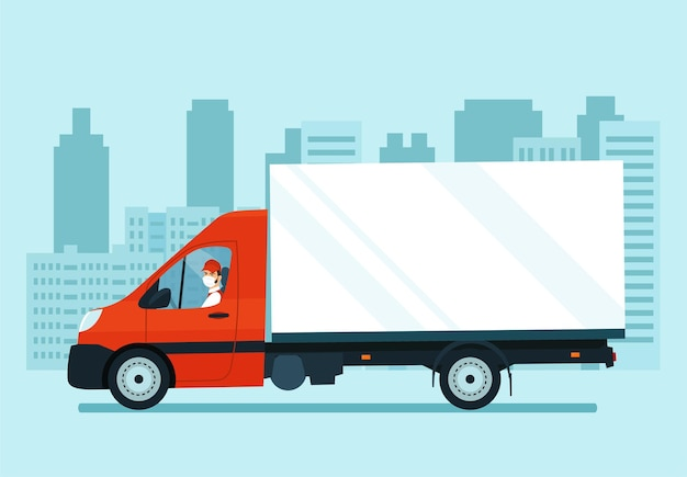 Cargo van with a driver in a medical mask. vector illustration.