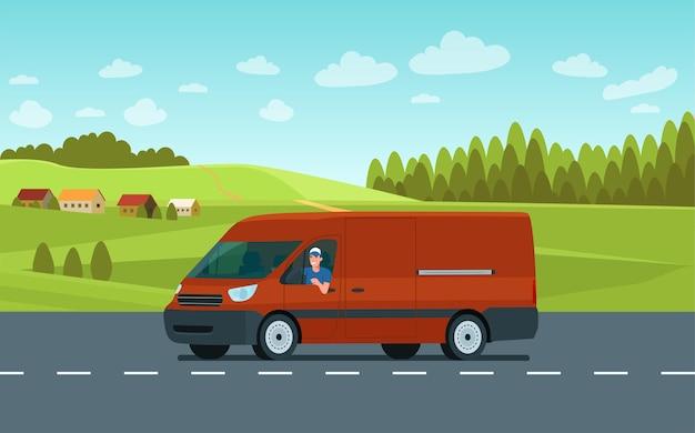 田園風景を背景に道路上のドライバーと貨物バン