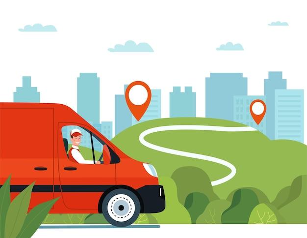 田園風景を背景に道路上のドライバーと貨物バン。 Premiumベクター
