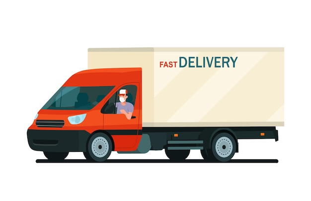 Cargo van with a face masked driver isolated. vector flat style illustration.