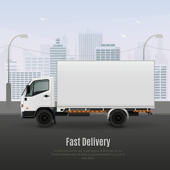 Cargo vehicle for fast delivery realistic composition