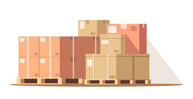 Cargo in warehouse semi flat rgb color vector illustration. freight storage. parcels in storehouse for distribution. stack of carton boxes on pallet isolated cartoon object on white background