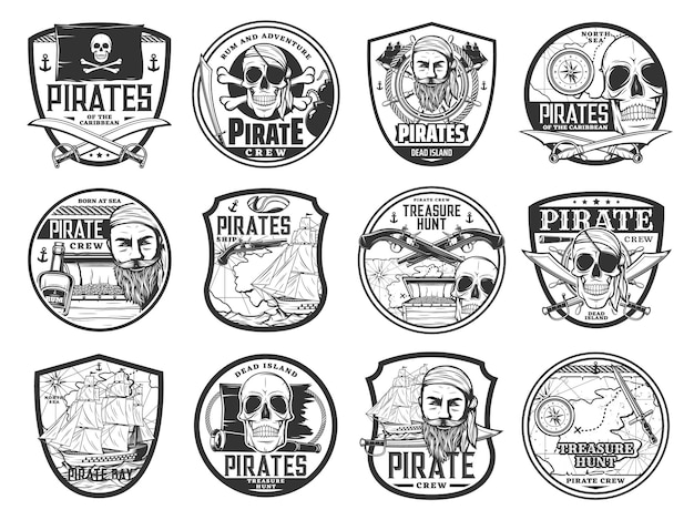 Карибский пират и корсар изолировали значки с векторным пиратским капитаном, картой, кораблем, черепом, черным флагом и повязкой на глазу. сундук с сокровищами, лодка, руль и ром, меч, попугай, пушка и значки с оружием пиратства