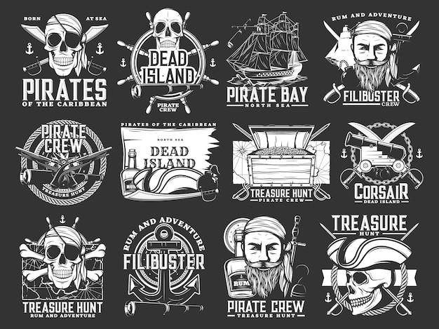 캐리비안 해적과 해적 아이콘입니다. 보물 찾기 모험 단색 벡터 엠블럼은 인간의 두개골을 반다나와 삼각모자, 해적선, 커틀라스 세이버, 앵커, 스티어링 휠 및 럼주로 설정합니다.