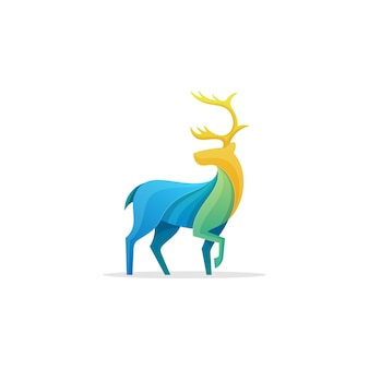 Caribou multicolored vector template