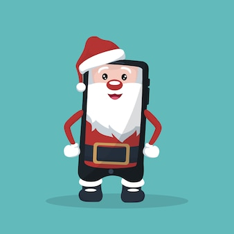 Caricature of cell phone in the shape of santa claus