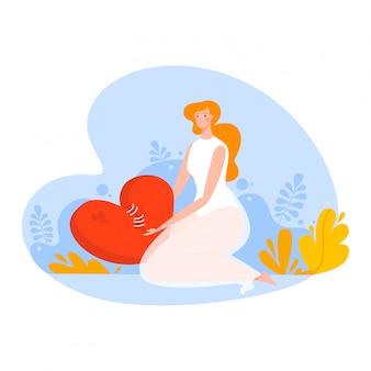 Caricature depression, unhappy girl sitting near heart, broken life, isolated on white, design, flat style illustration.