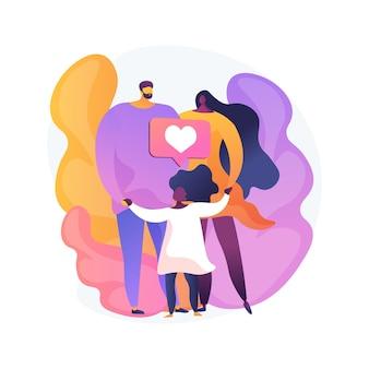 돌보는 입양 아버지 추상적 인 개념 그림. 위탁 양육, 입양 아버지, 행복한 인종 간 가족, 재미, 집에서 함께, 자녀가없는 부부