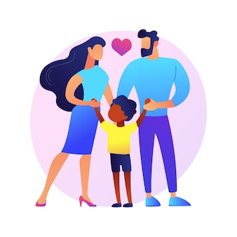 Caring adoptive parents abstract concept   illustration. foster care, father in adoption, happy interracial family, having fun, together at home, childless couple