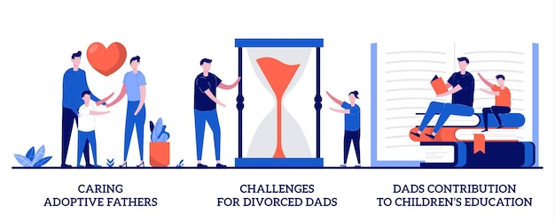 Caring adoptive parents, divorced dads challenges, dads contribution to children's education illustration with tiny people