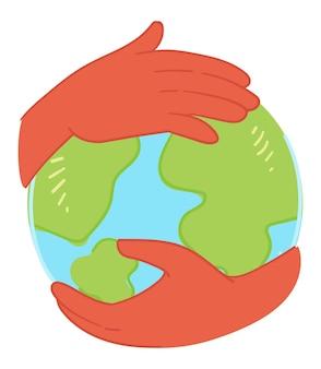 地球の自然と環境を気遣い、保護し、地球儀モデルを持っている孤立した手。抱きしめたり抱きしめたりします。環境にやさしく持続可能な生態系の創造。フラットスタイルのベクトル