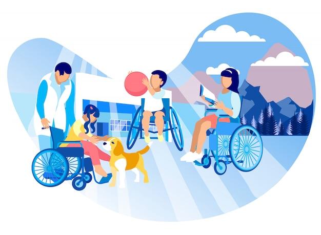 Caring for children autistic vector illustration.